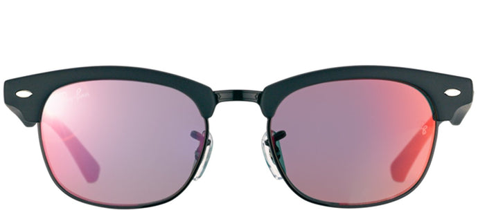 Ray-Ban Jr RJ 9050 Clubmaster Plastic Sunglasses - Matte Black with Red Mirror Lens