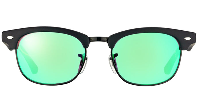 Ray-Ban Jr RJ 9050 Clubmaster Plastic Sunglasses - Matte Black with Green Mirror Lens