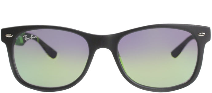 Ray-Ban Jr RJ 9052 Wayfarer Plastic Sunglasses - Matte Black with Green Mirror Lens