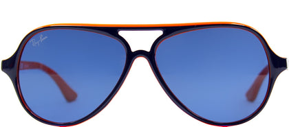 Ray-Ban Jr RJ 9049 Aviator Plastic Sunglasses - Top Blue On Orange with Blue Lens