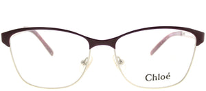 Chloe CE 2122 720 Light Gold Bordeaux Square Metal Eyeglasses