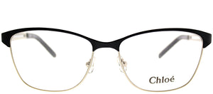 Chloe CE 2122 723 Light Gold Black Square Metal Eyeglasses