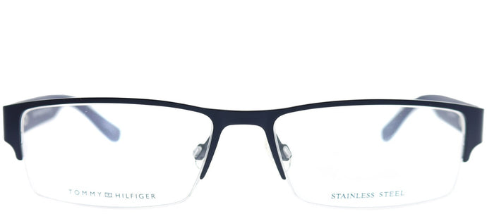 Tommy Hilfiger TH 1236 1IC Matte Dark Blue Semi-Rimless Metal Eyeglasses