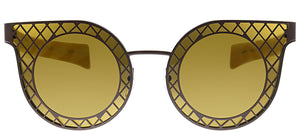 Salvatore Ferragamo SF 171 204 Brown Round Metal Sunglasses