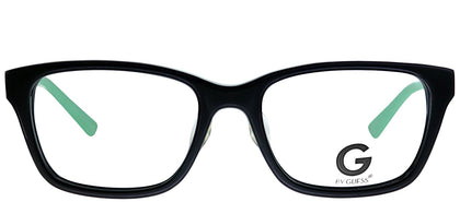 G by Guess GU 100 BLKGN Black Green Rectangle Plastic Eyeglasses