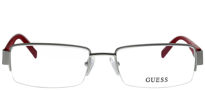 Guess GU 1774 SIRD Silver Red Metal Semi-Rimless Eyeglasses