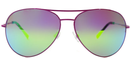 Nicole Miller NM Moore Aviator Metal Sunglasses - Pink with Pink Mirror Lens