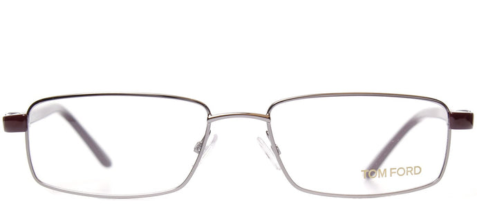 Tom Ford FT 5153 014 Brown Silver Rectangle Metal Eyeglasses
