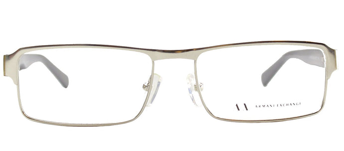Armani Exchange AX 1002 6020 Satin Silver Rectangle Metal Eyeglasses