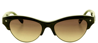 Nicole Miller NM VESEY C01 Cat-Eye Plastic Sunglasses - Olive Horn with Brown Gradient Lens