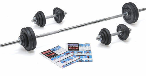 York 50kg Black Cast Iron Barbell and Dumbell Set