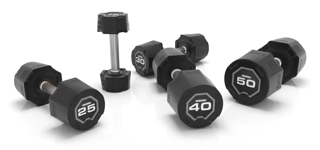 Escape Fitness 2-20kg Urethane Dumbbell Set and 10 pair rack