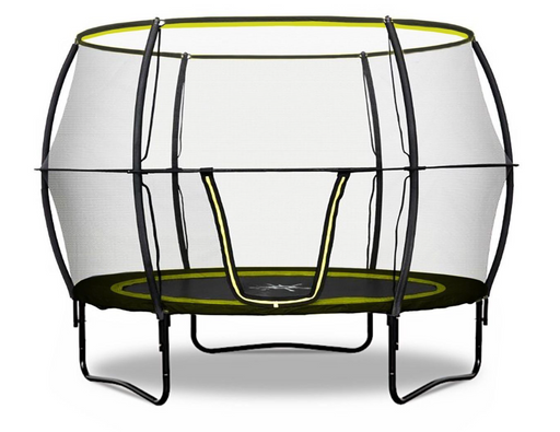 Rebo Base Jump 10FT Trampoline With Halo II Enclosure - 2020 Black Edition