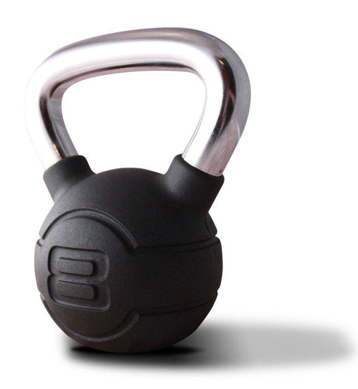 Jordan Black Rubber Chrome Handle Kettlebell Set (10 Kettlebells and Rack)