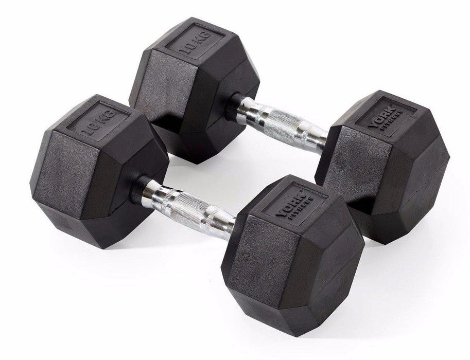 York Individual Rubber Hex Dumbbell (up to 50kg)