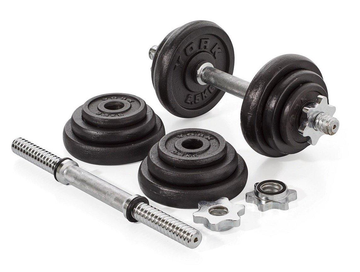 York 20kg Black Cast Iron Dumbell Set