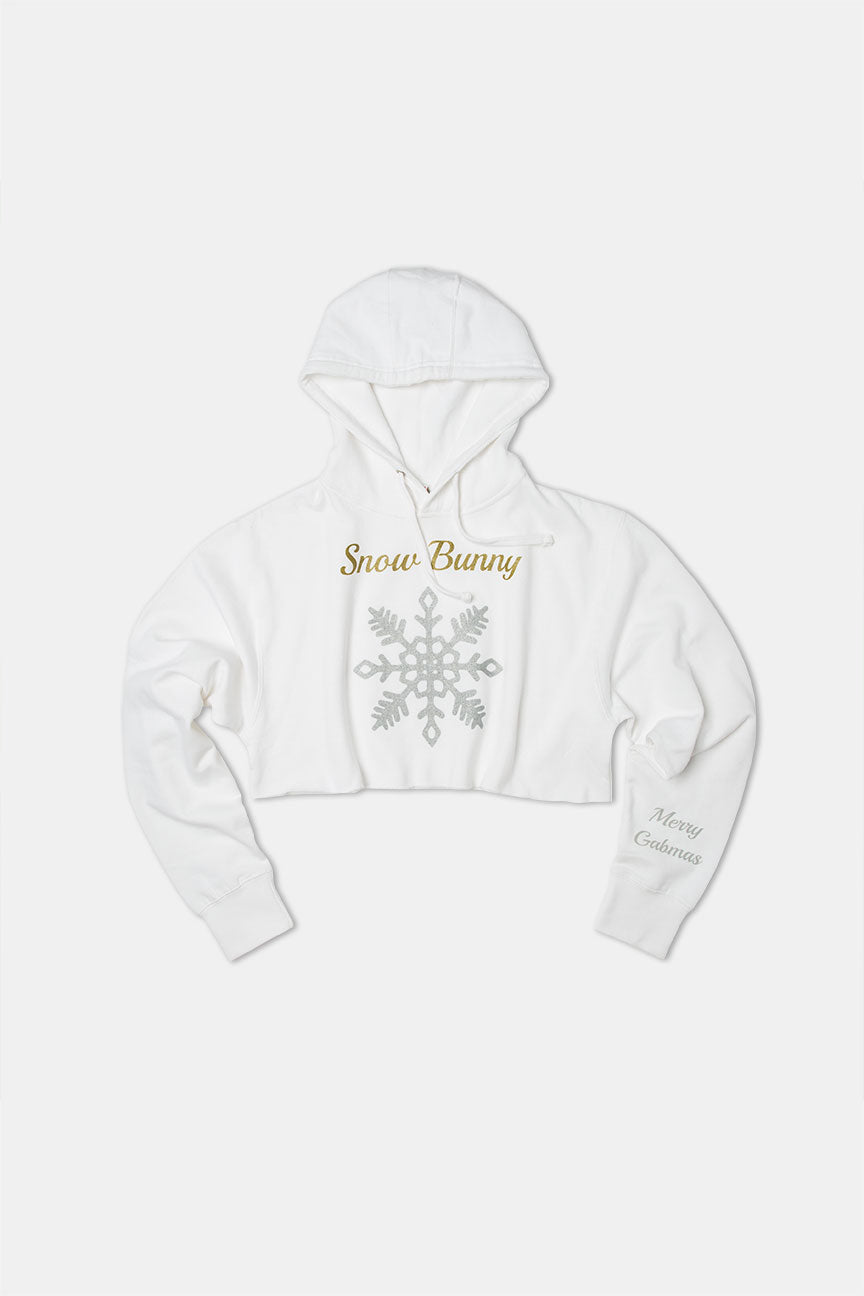 SnowBunny White Cropped Hoodie