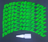 Green MICHELIN Tyre Stickers - Full Car Set (8 Stickers - 2 Per Tyre)