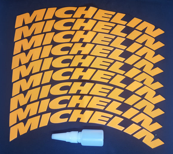 Orange MICHELIN Tyre Stickers - Full Car Set (8 Stickers - 2 Per Tyre)