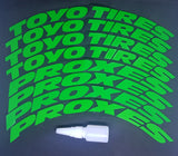 Green TOYO TIRES PROXES Tyre Stickers - Full Car Set (8 Stickers - 2 Per Tyre)