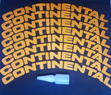 Orange CONTINENTAL Tyre Stickers - Full Car Set (8 Stickers - 2 Per Tyre)