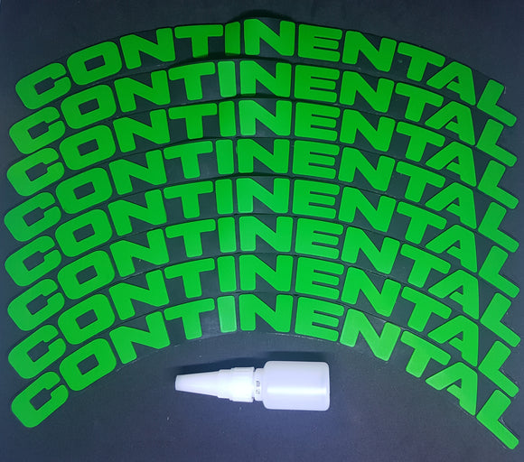 Green CONTINENTAL Tyre Stickers - Full Car Set (8 Stickers - 2 Per Tyre)