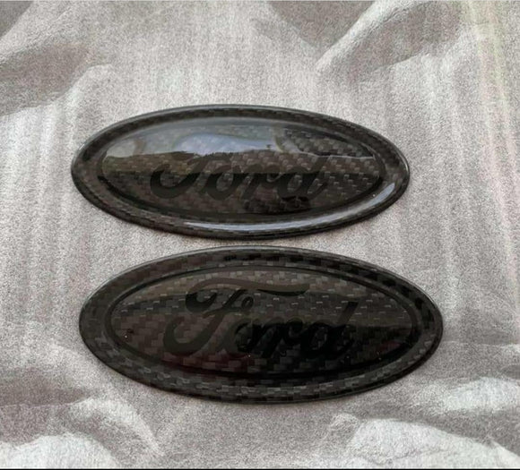 Real Carbon Fibre Ford Badge Set - Front and Rear