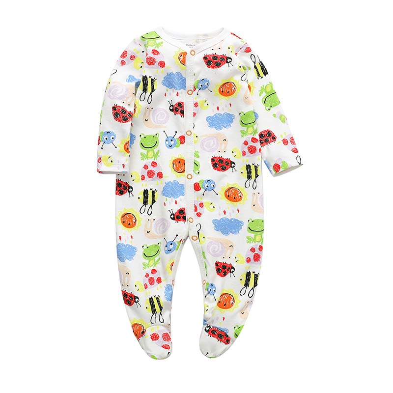 Footed Baby Romper - Colourful bugs