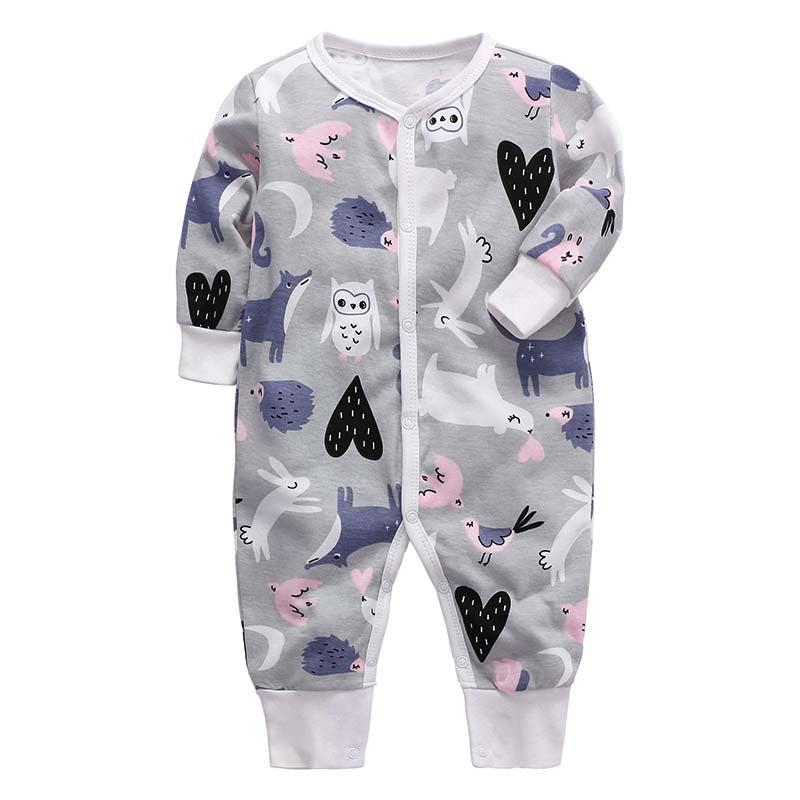 Footless Baby Romper - Nocturnal Animals