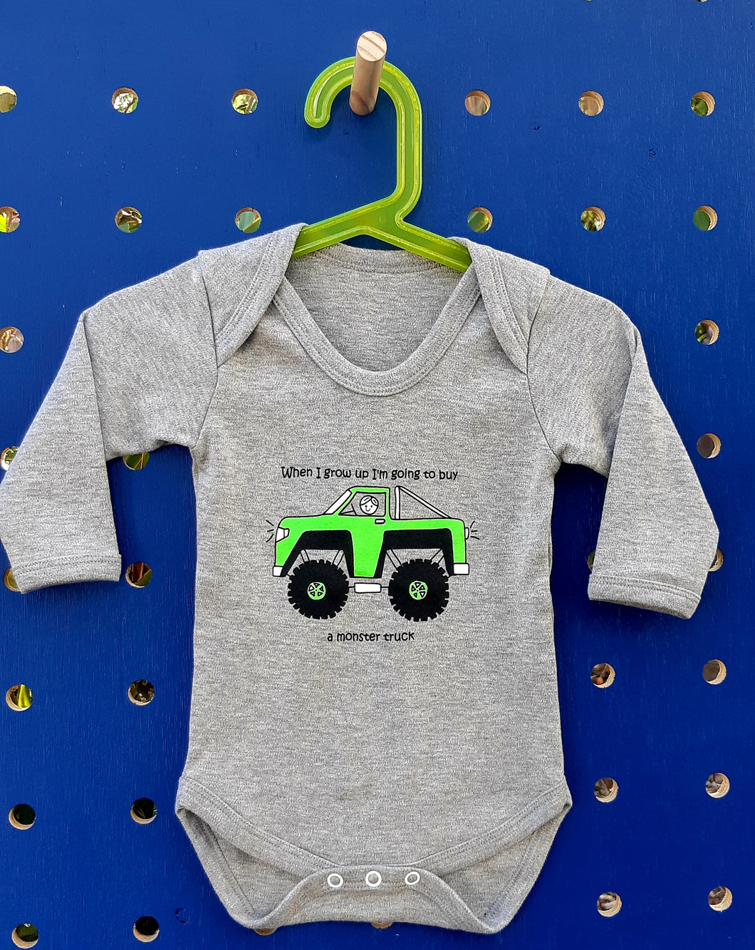 Monster Truck Long Sleeve Onesie