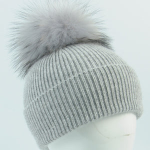Baby Beanie - Cashmere Blend, Single Pom