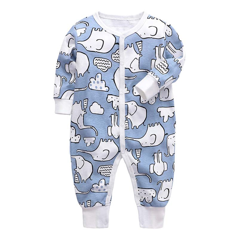 Footless Baby Romper - Blue Elephants