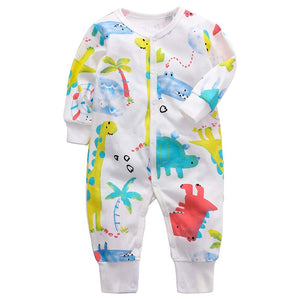Footless Baby Romper - Colourful Dinosaurs