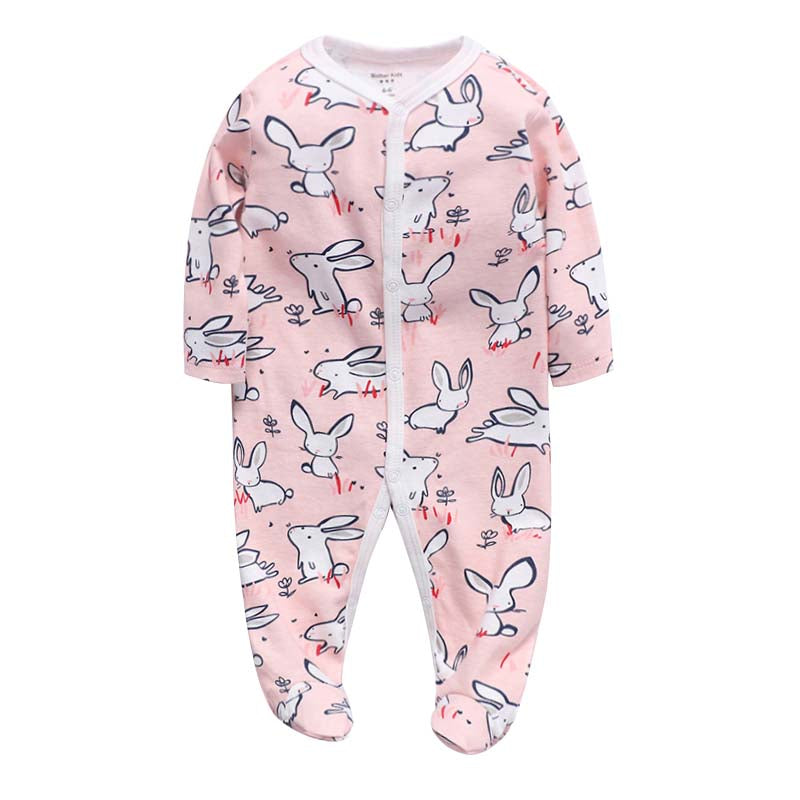 Footed Baby Romper - Pink Bunnies