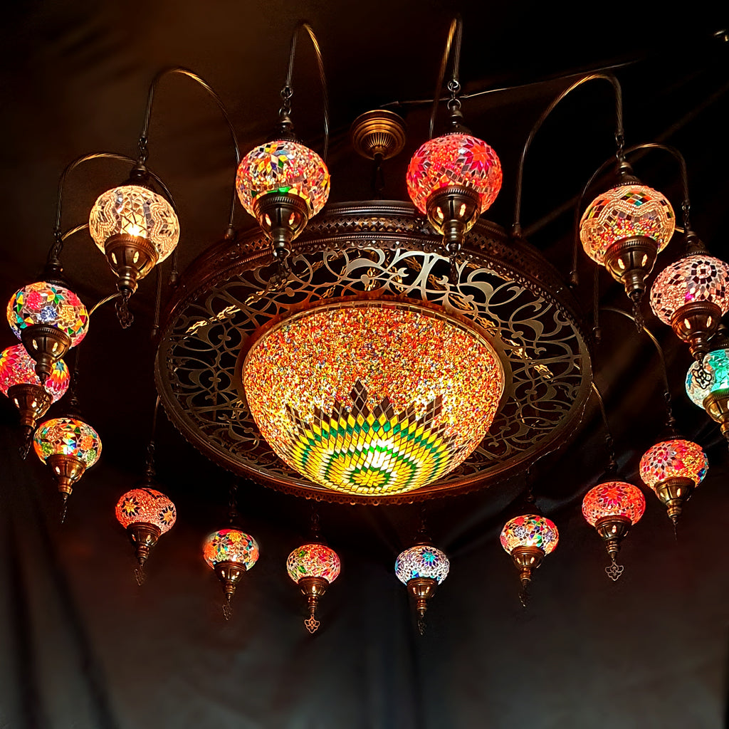 16 Ball Turkish Moroccan Extra Large Mosaic Chandelier Lamp Light Hallway Restaurant Fitting