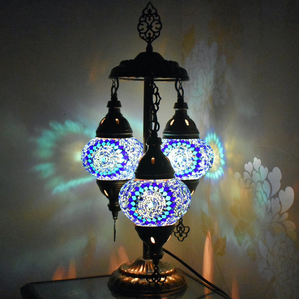 Turkish Table Lamp Moroccan 3 Bulb Colourful Glass Mosaic Lamp Light CE TESTED