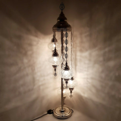 Silver Turkish Moroccan Mosaic Floor Lamp Light CE and UK