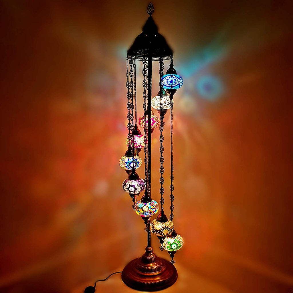9IN1 Handmade Turkish Moroccan Style Floor Lamp Light