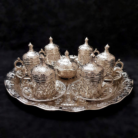 Ottoman Turkish Greek Silver Brass Tea Coffee Saucers Cups Tray Set