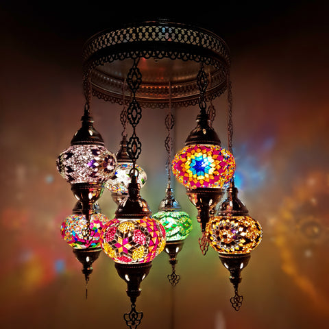 Turkish Moroccan Arabian Glass Mosaic Silver Chandelier Lamp Light 8 Bulb