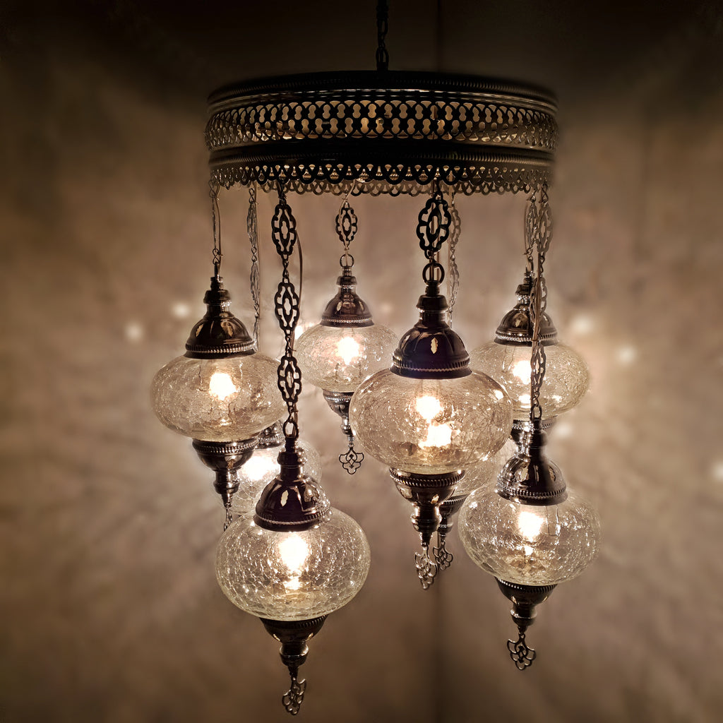 TURKISH MOROCCAN SILVER CHANDELIER 8IN1 OTTOMAN GLASS