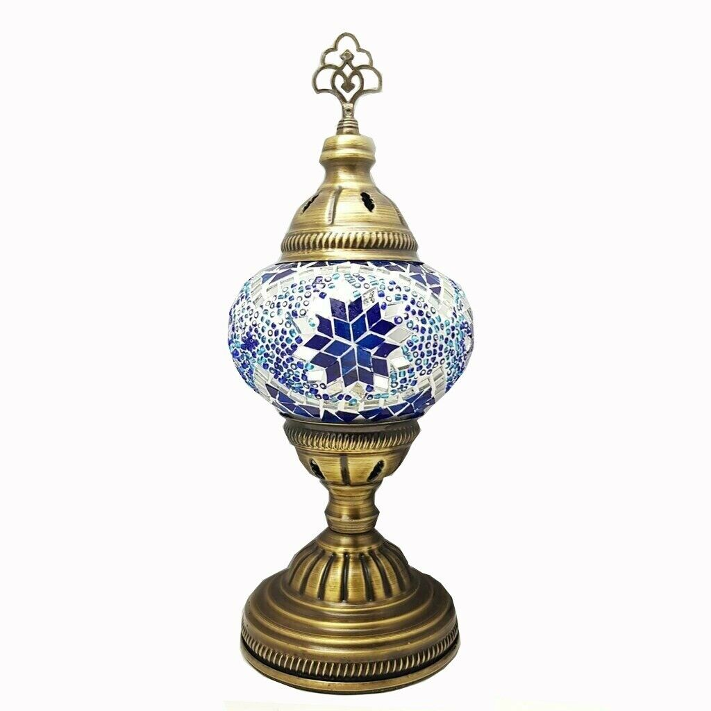 Cordless Turkish Moroccan Glass Mosaic Battery Table Desk Lamp LED Lights