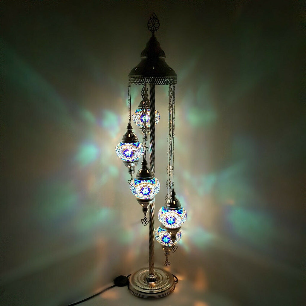 Silver 3 5 7 9 Glass Ball Turkish Moroccan Mosaic Floor Lamp Light CE and UK
