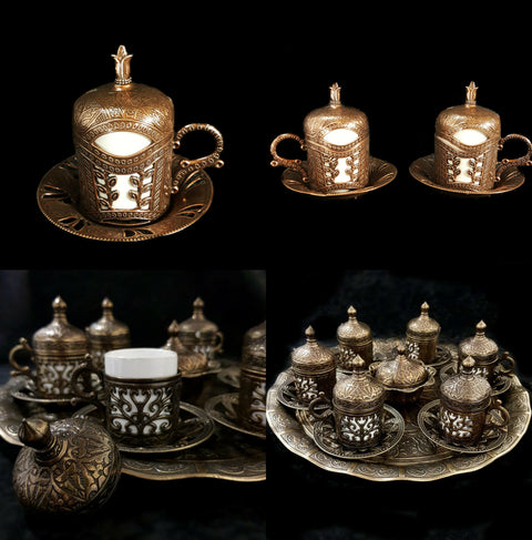 Ottoman Turkish Greek Bronze Brass Tea Coffee Saucers Cups Tray Set