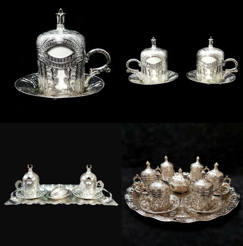 Ottoman Turkish Silver Metal Glass Tea Coffee Saucers Cups Tray Set