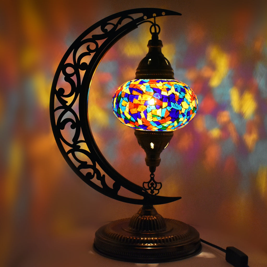 Turkish Table Lamp Moroccan Colourful Glass Mosaic Lamp Light CE TESTED