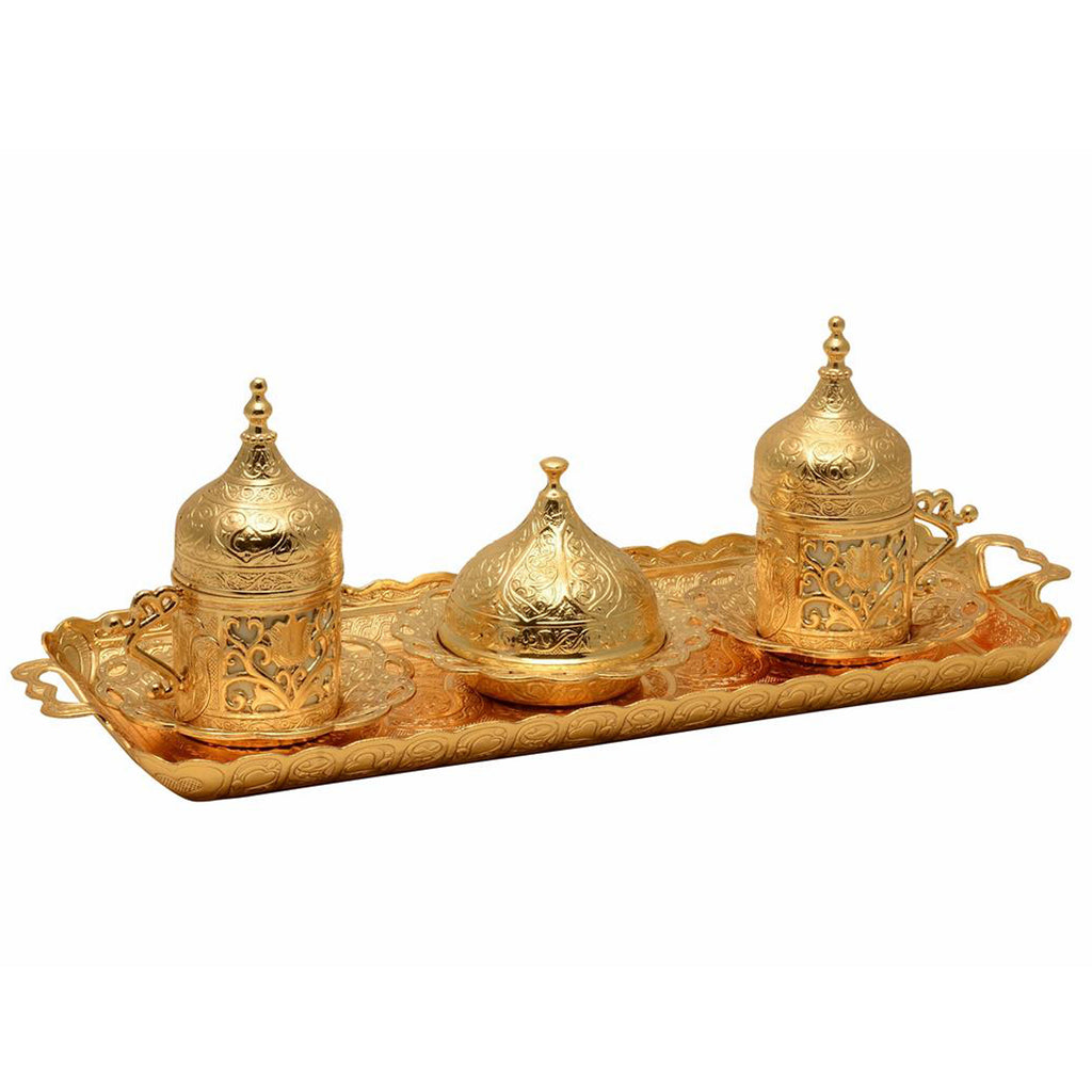 Turkish Arabic Coffee Serving Set in Gold