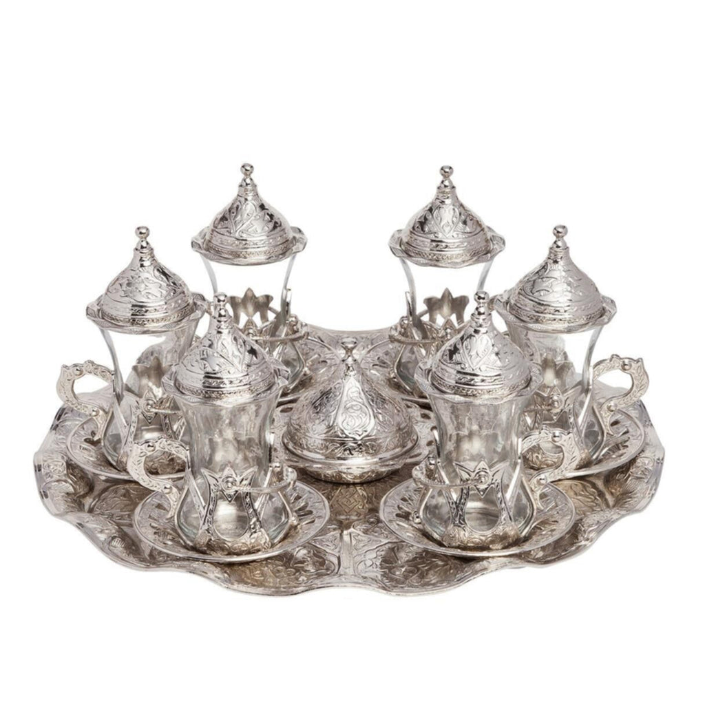 Ottoman Turkish Greek Silver Brass Glass Tea Coffee Saucers Cups Tray Set