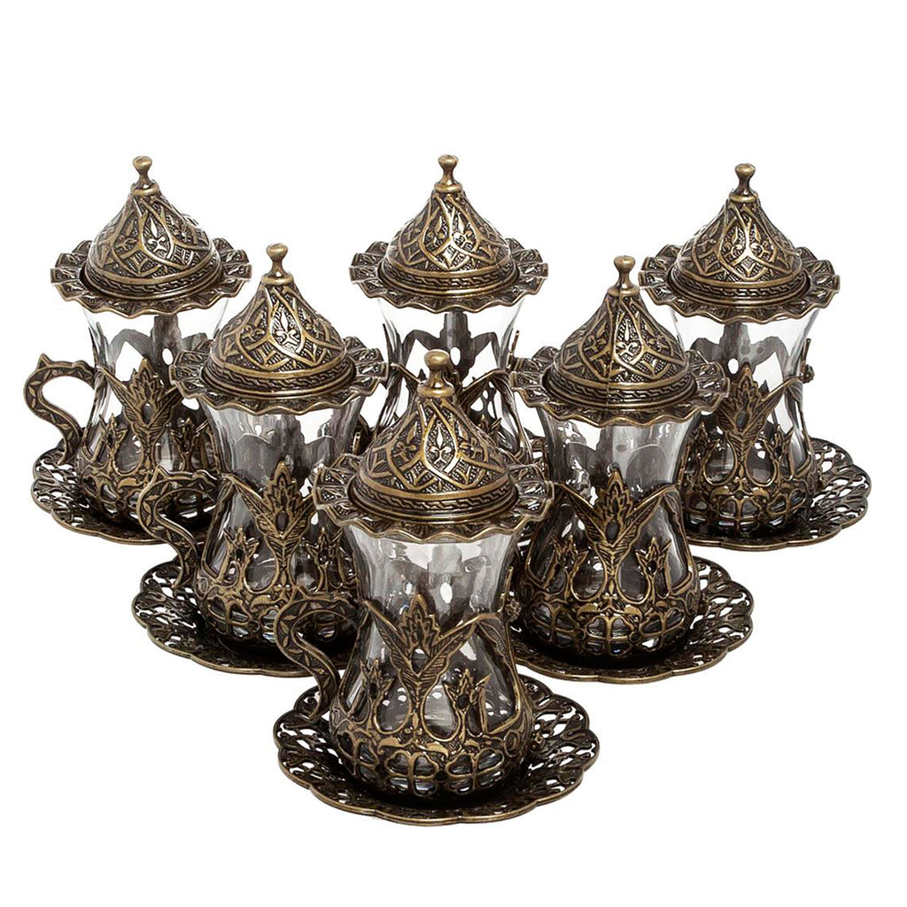 Coffee Set: 6 Cup Turkish Coffee Cup Set, Bronze Cups, Original Cast Copper | Tu