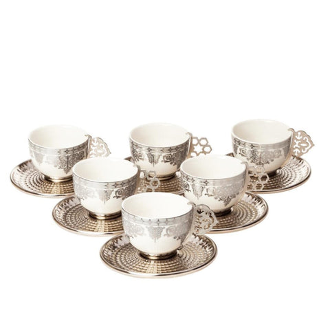 Tea Set: 6 Cup Tea Cup Set,6-Piece Ceramic Pattern Tea Cup and Saucer Set Tea Cups Set for Home and Office